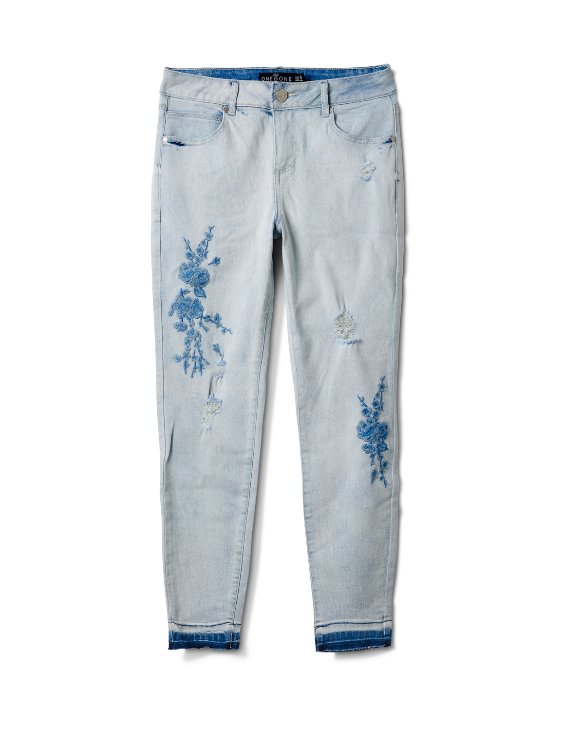 Mid Rise Skinny Jean With Embroidery On The Leg -Bleach - Front