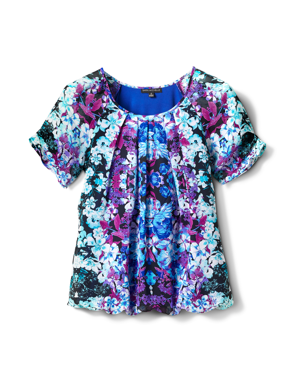 Pleat Sleeve Placement Print Bubble Hem Blouse -Purple/Turq/Blk - Front