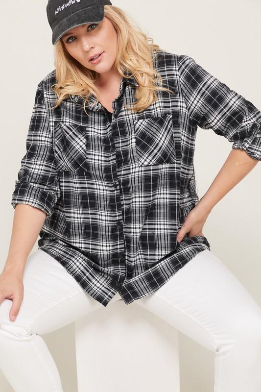 B&W Checkered Flannel Shirt -Black / White - Front