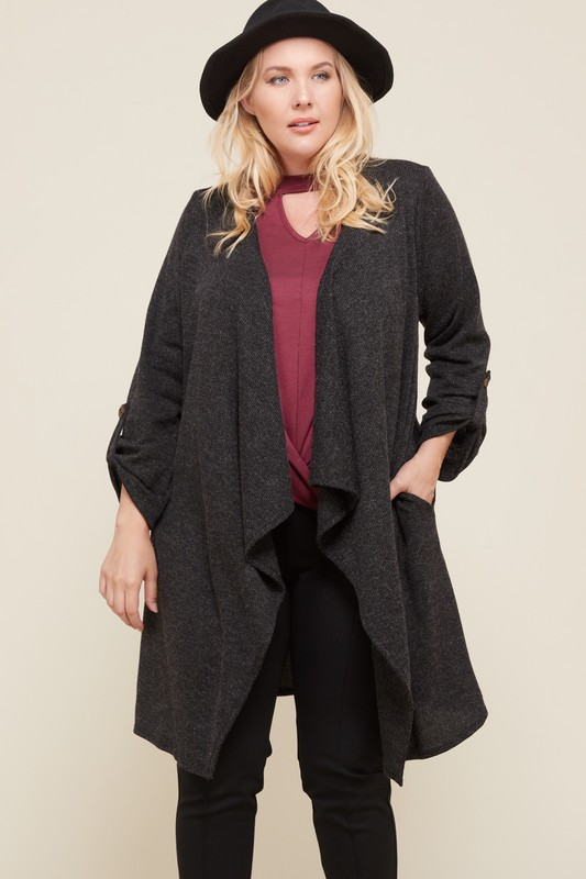 Plus Long Sleeve Cardigan -Black - Front