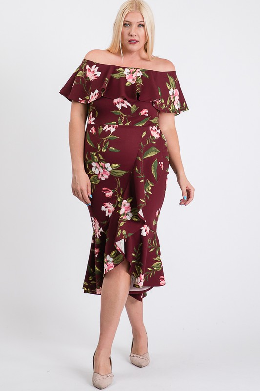 Floral Ruffled Sexy Dress -Burgundy - Front