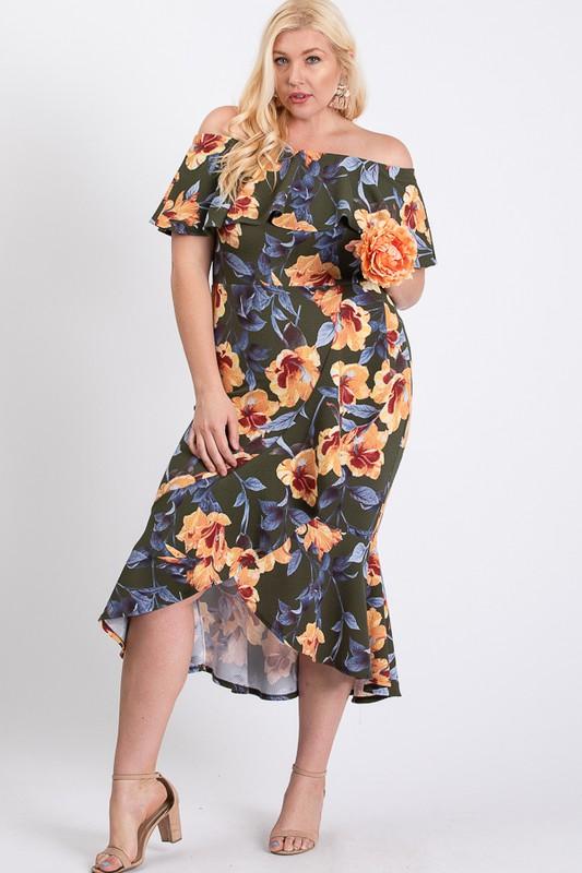 Floral Ruffled Sexy Dress -Olive - Front