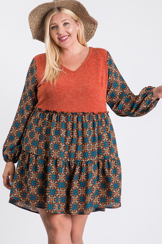 Cozy In-Style Long Sleeve Dress -Rust - Front