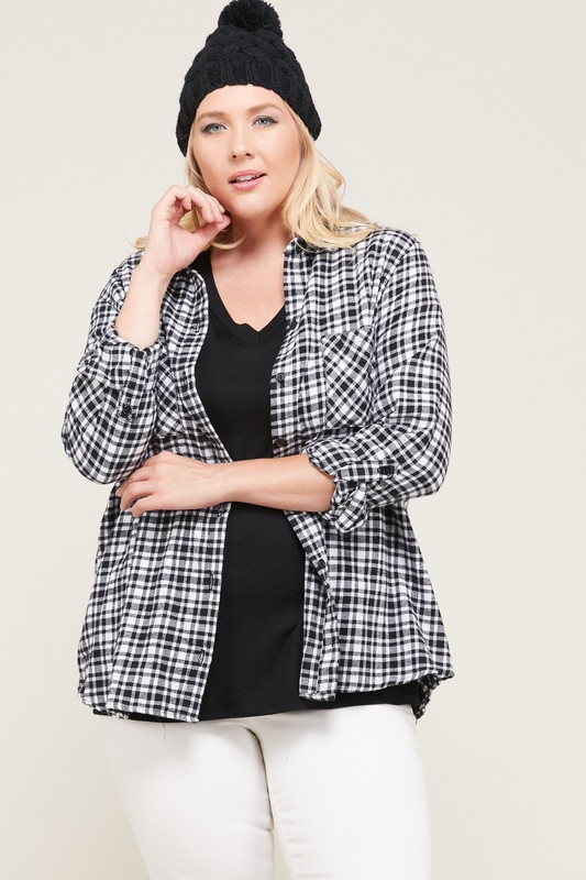 Flannel Shirt With Pockets -White / Black - Front