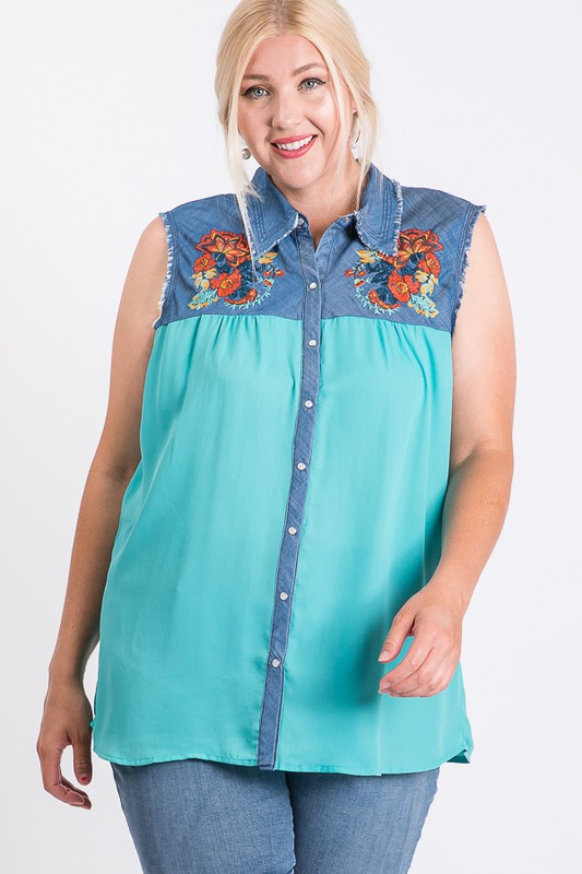 Embroidered Denim Casual Sleeveless Top -Mint Combo - Front
