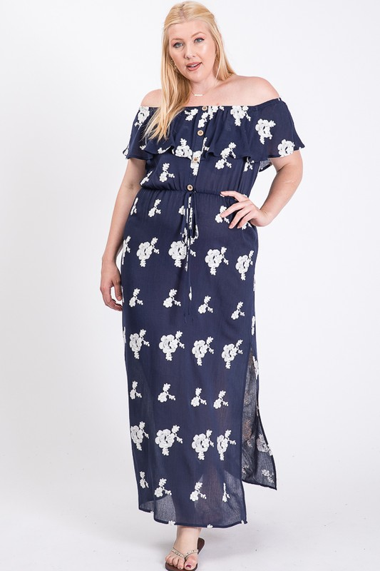Carefree Off-Shoulder Maxi Dress -Navy / White - Front