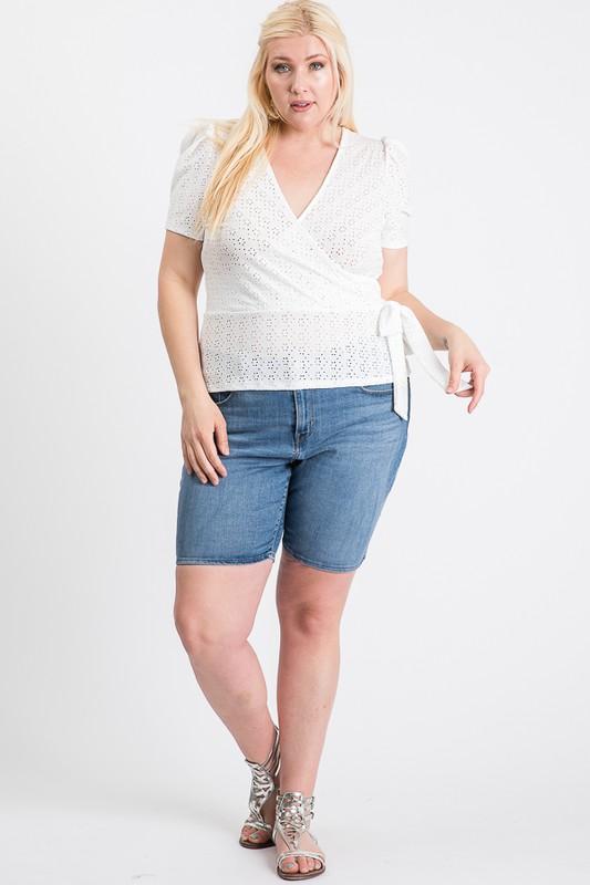 Cute Puff Short Sleeve Top - Cream - Front