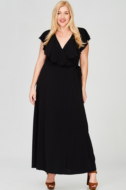 Ruffled Wrap Maxi Dress - Black - Front