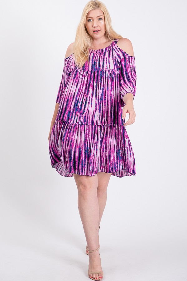 Tie Dye Colorful Dress -Fuchsia - Front