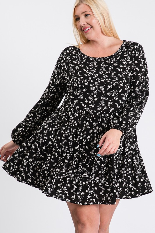 Summery Floral Dress -Black / Ivory - Front