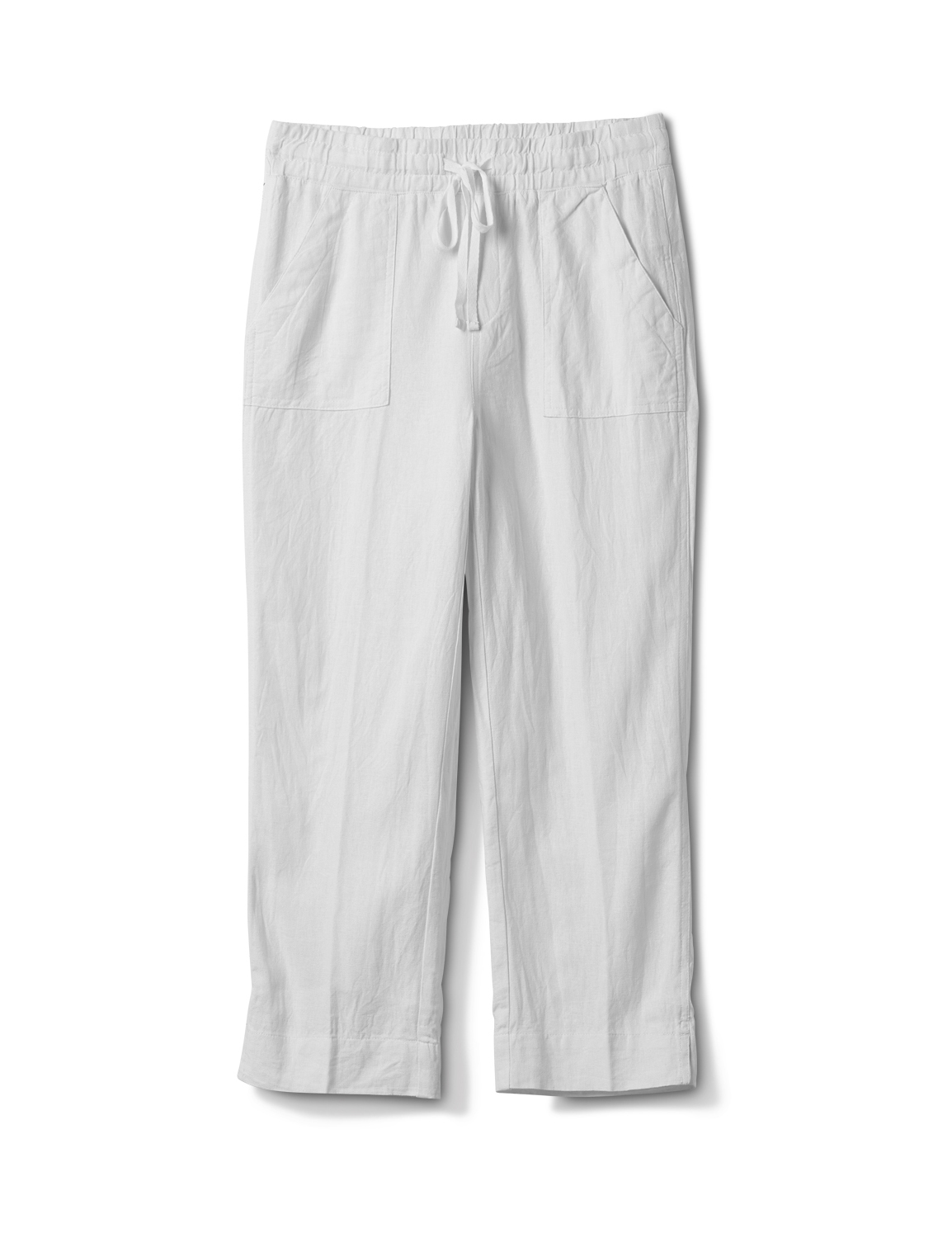 Drawstring  Waist Pull On Crop Pant With Pockets -White - Front