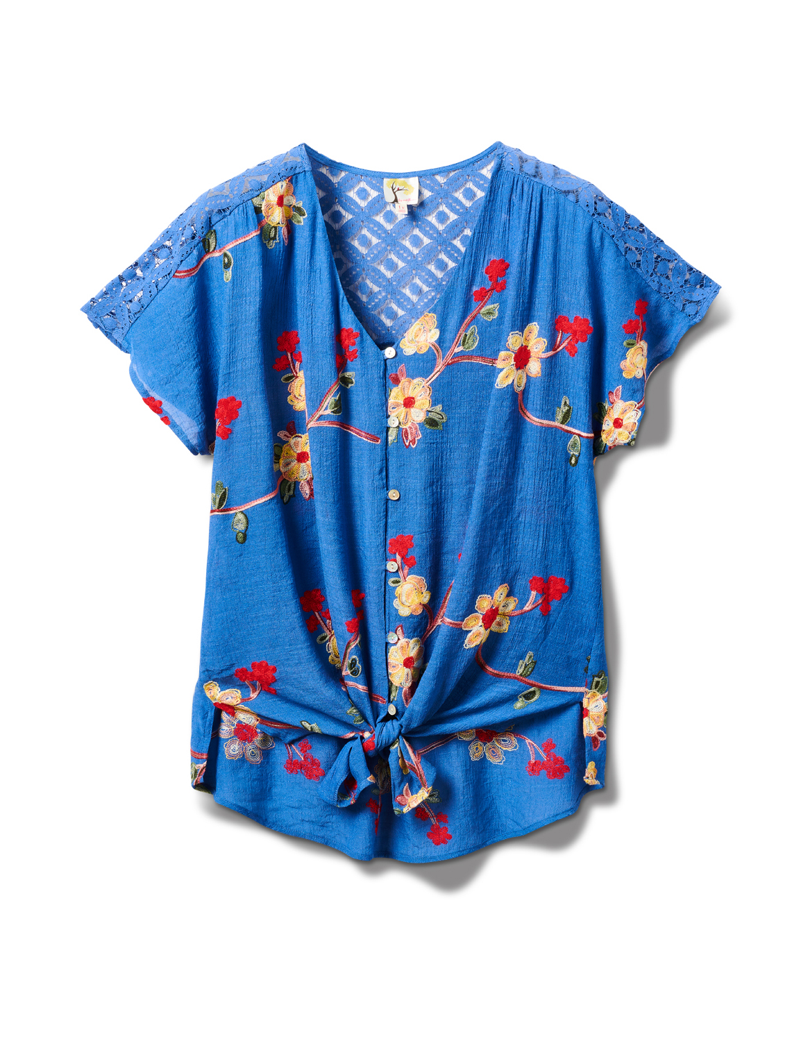 Embroidered Tie Front Blouse With Crochet - Plus -Chambray - Front