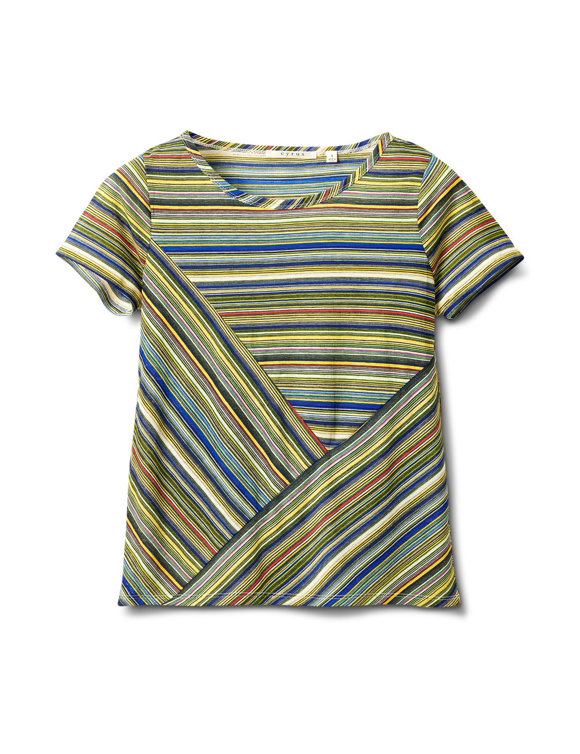 Textured Mixed Direction Stripe -Blue/Green - Front