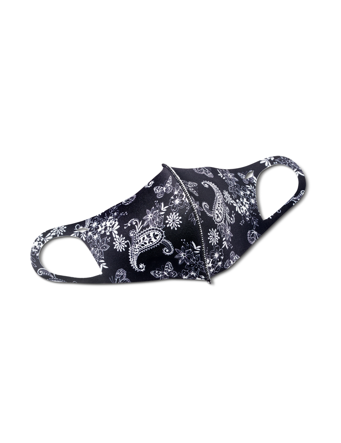 Garden Paisley Anti-Bacterial Fashion Face Mask - Black/White - Front