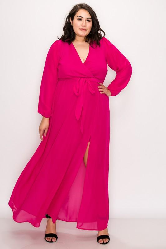 To Wow Maxi Dress -Fuchsia - Front