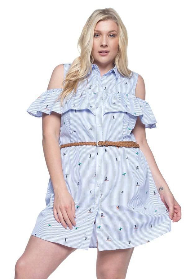 Ruffle Cold Shoulder Shirt Dress -Blue - Front