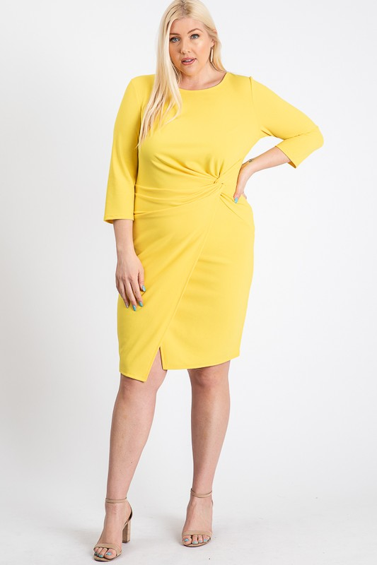 Short Dress With A Front Twist - Yellow - Front