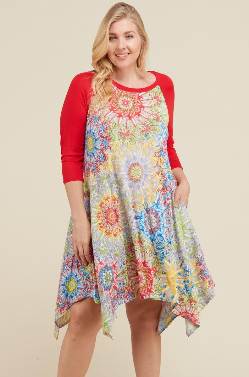 Vibrant Color Dress -Multi - Front