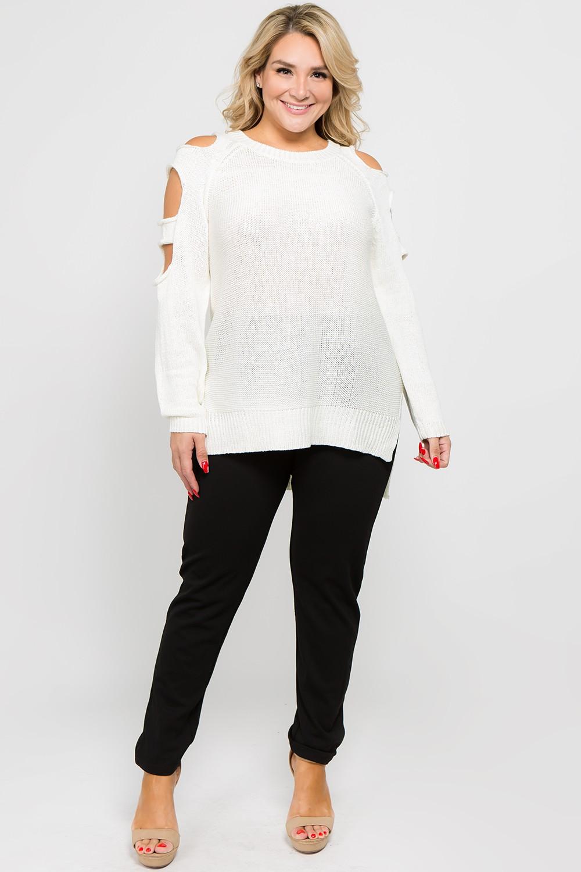Fierce Cutout Sweater -Off White - Front