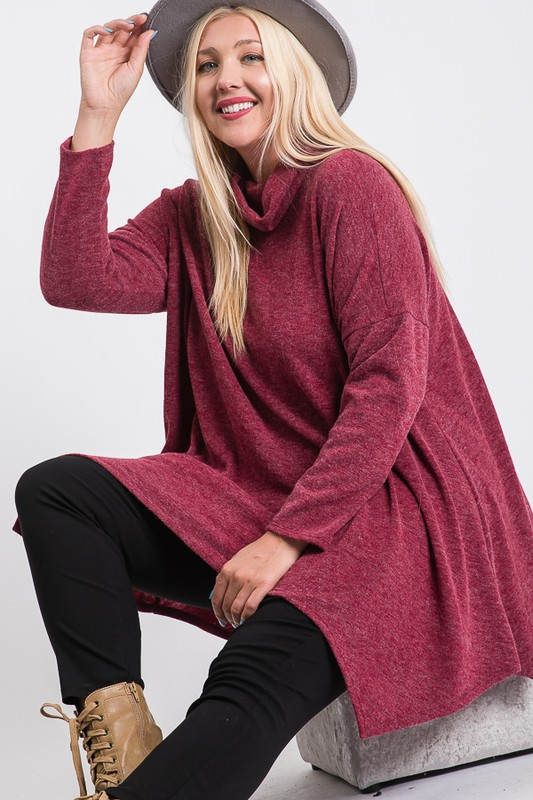 Extra Comfy Loose Top - Burgundy - Front