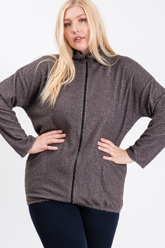Winter is Here Mock Neck Jacket -Charcoal - Front