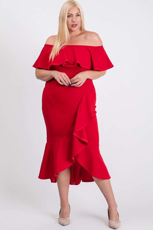 Turn Heads Ruffle Dress -Red - Front