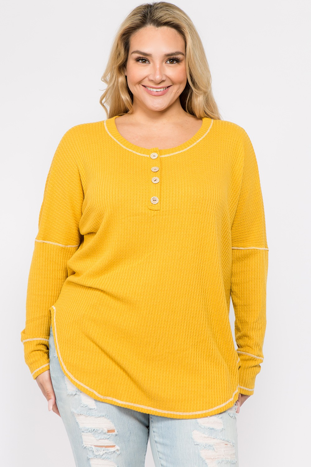 Lively Yellow Long Sleeve Top - Mustard - Front