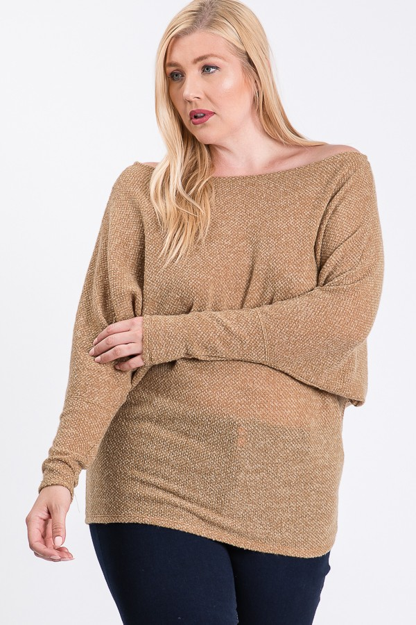 Lazy Day Knit Wide Top -Taupe - Front