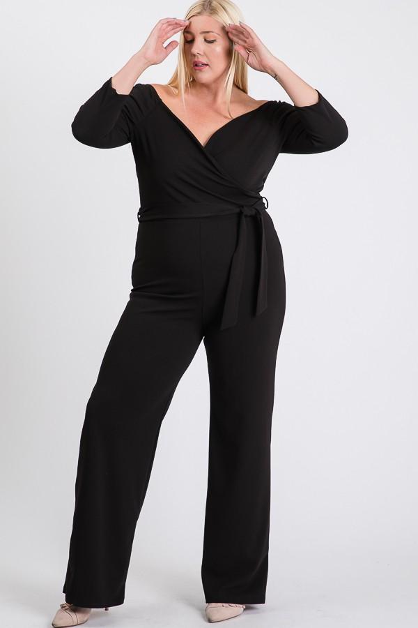 Give Your Dress A Break Jumpsuit -Black - Front