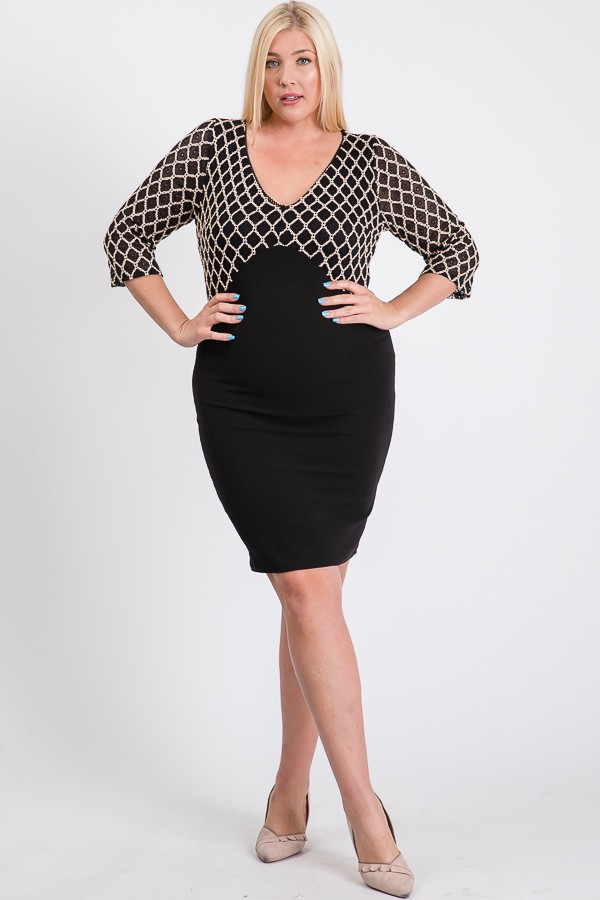 Formal But Sassy Bodycon Dress -Black - Front