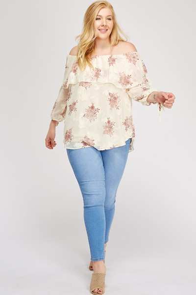 Simply Stand Out Off-Shoulder Top -Stone - Front