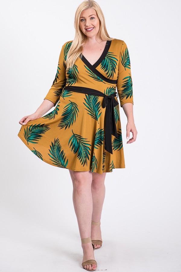 Feel The Breeze Midi Dress -Mustard - Front