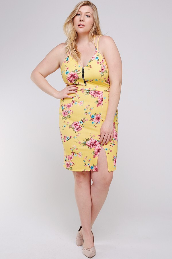 Hard to Get Floral Dress - Yellow - Front