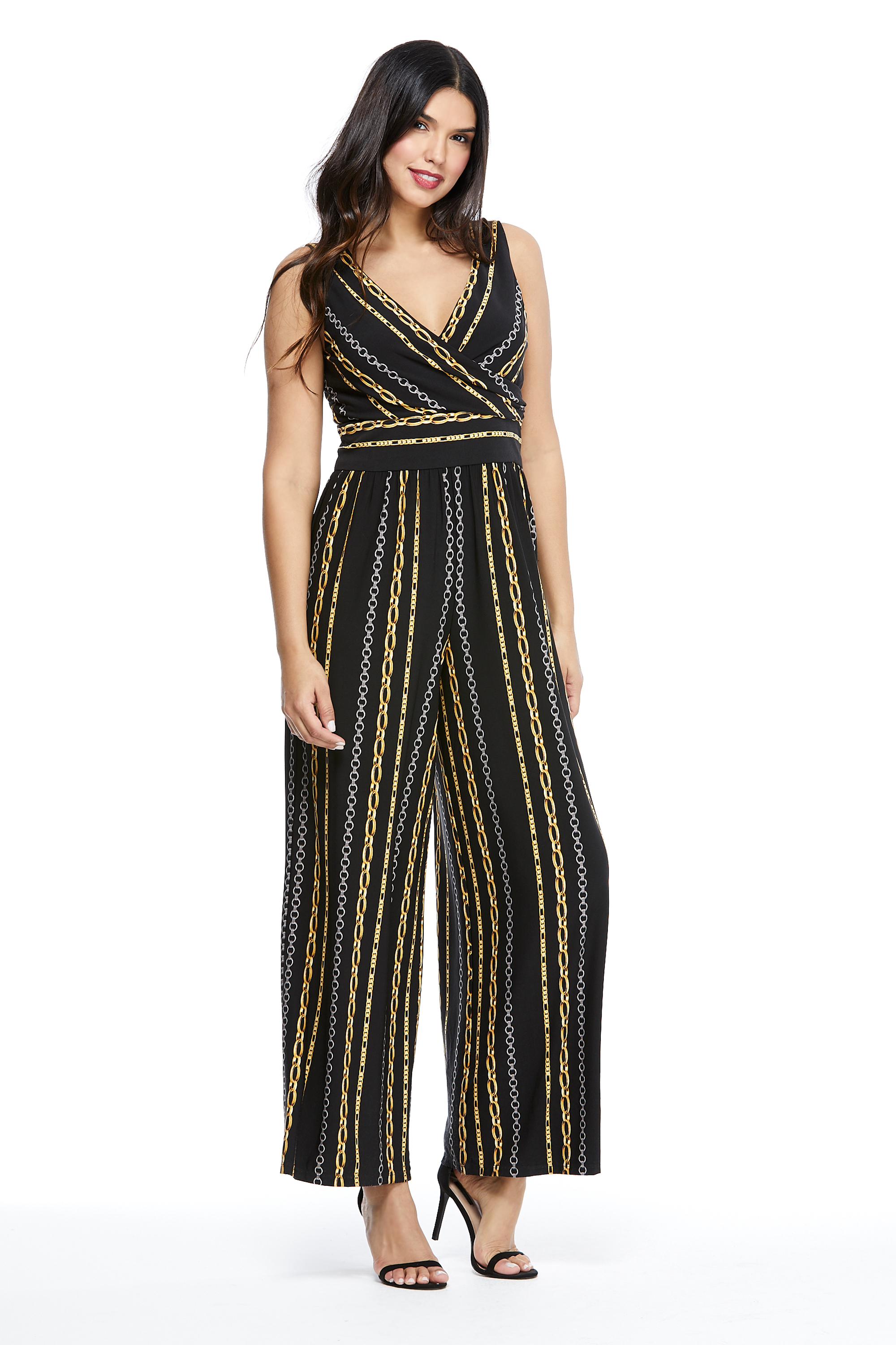 Whitney Chain Stripe Jumpsuit -Black/Gold - Front