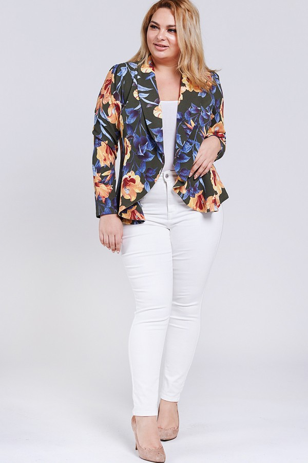 Floral Blazer Jacket - Olive - Front