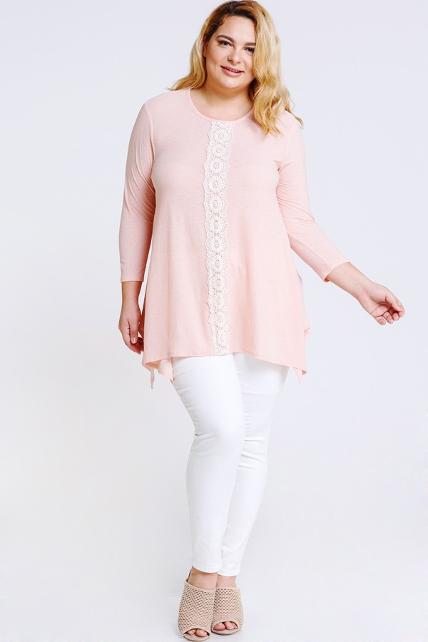 Lace x Crochet Pink Top -Blush - Front