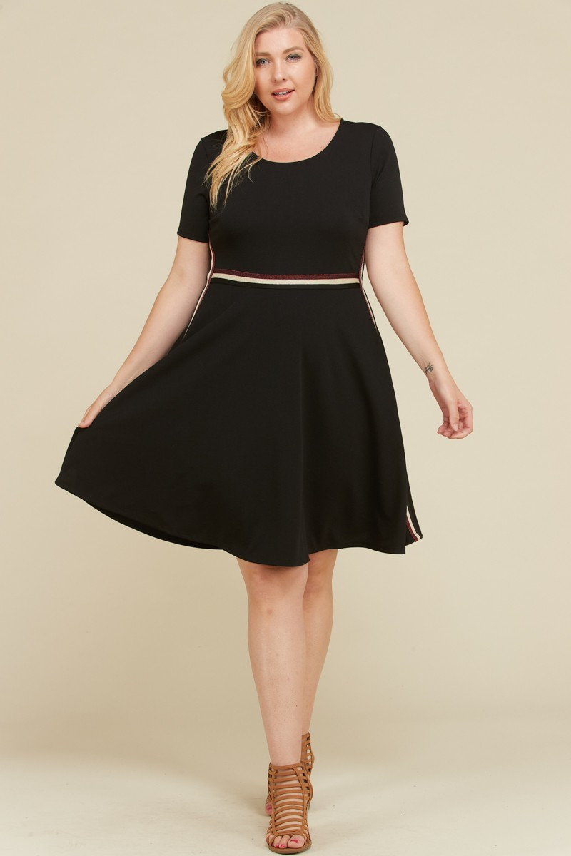 Cool Side Tape Dress -Black - Front