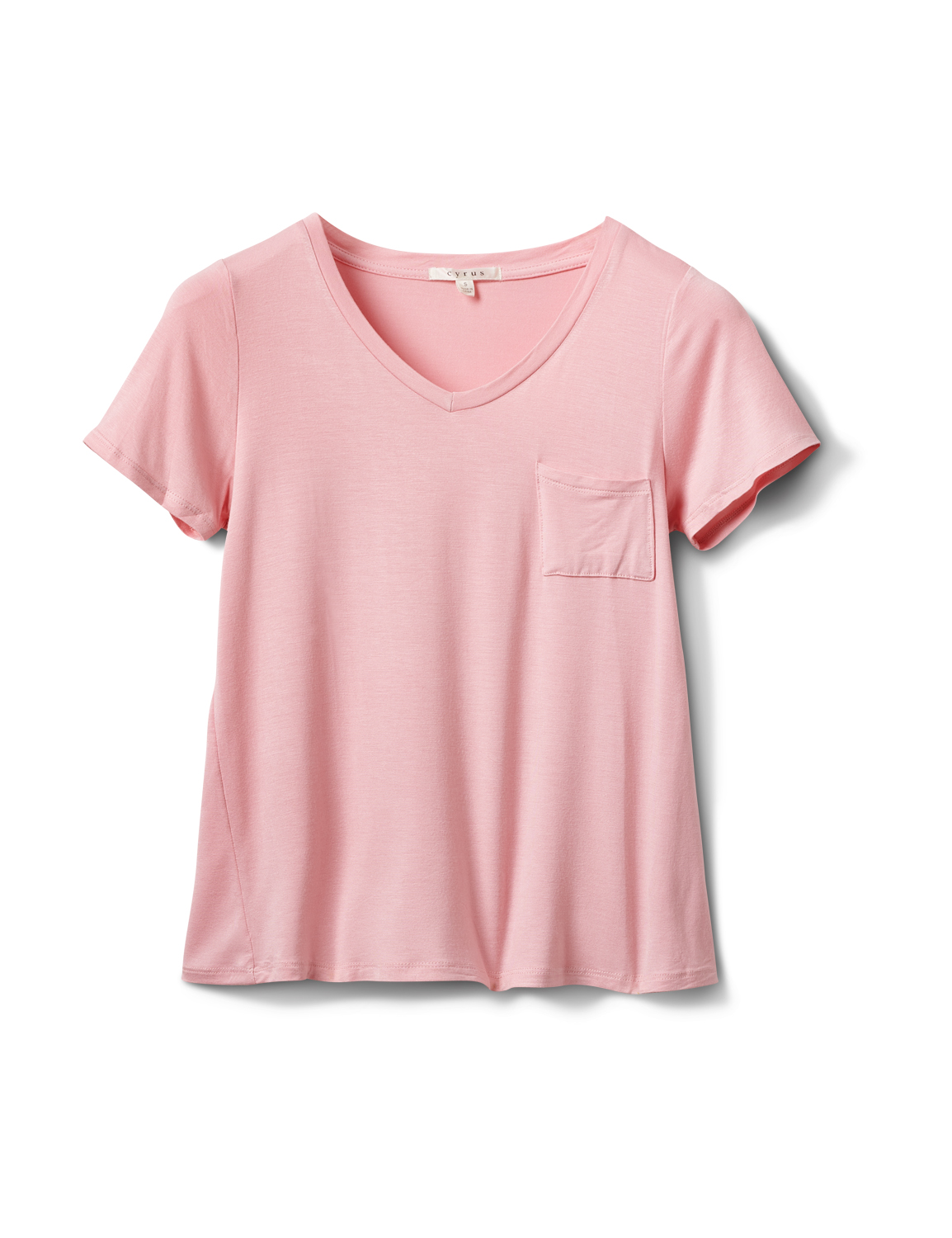 Rayon Span V-Neck Tee -Blush - Front