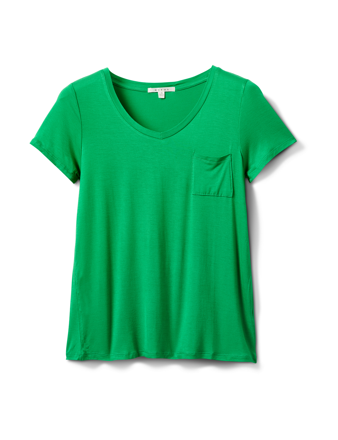 Rayon Span V-Neck Tee -Kelly Green - Front
