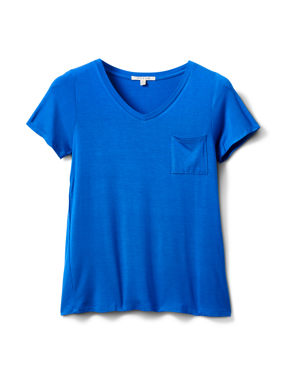 Rayon Span V-Neck Tee -Royal Blue - Front