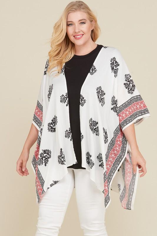 Namaste Kimono/ Cardigan - White / Black / Red - Front