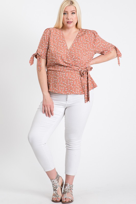 Wrapped by Floral Top - Mauve - Front