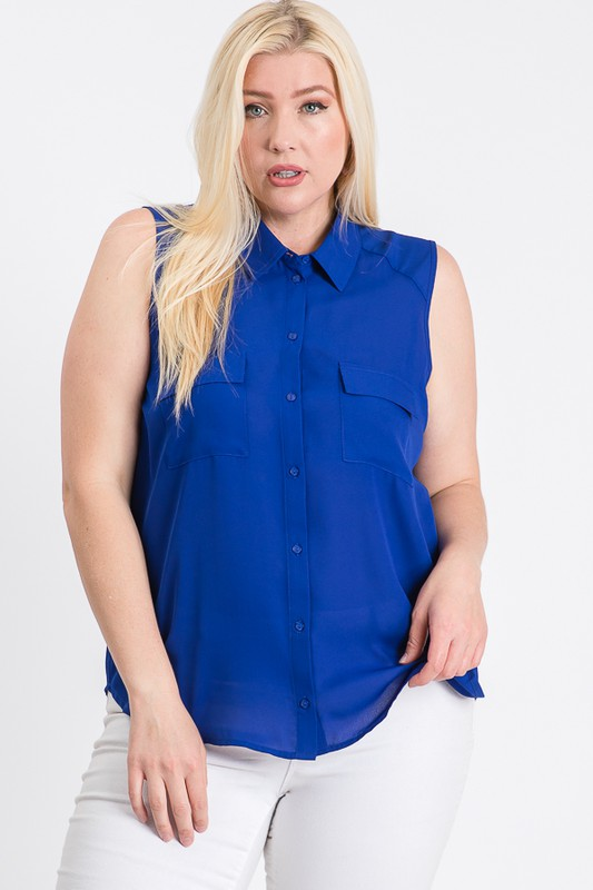 The Not So Classic Buttoned Top - Royal - Front