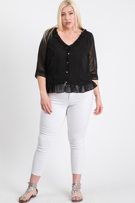 Dotted Chiffon Blouse -Black - Front