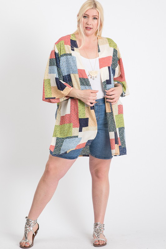 Different Styles Cardigan - Blue / Multi - Front