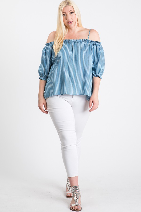 The Striped/ Denim Off-Shoulder Top - Denim - Front