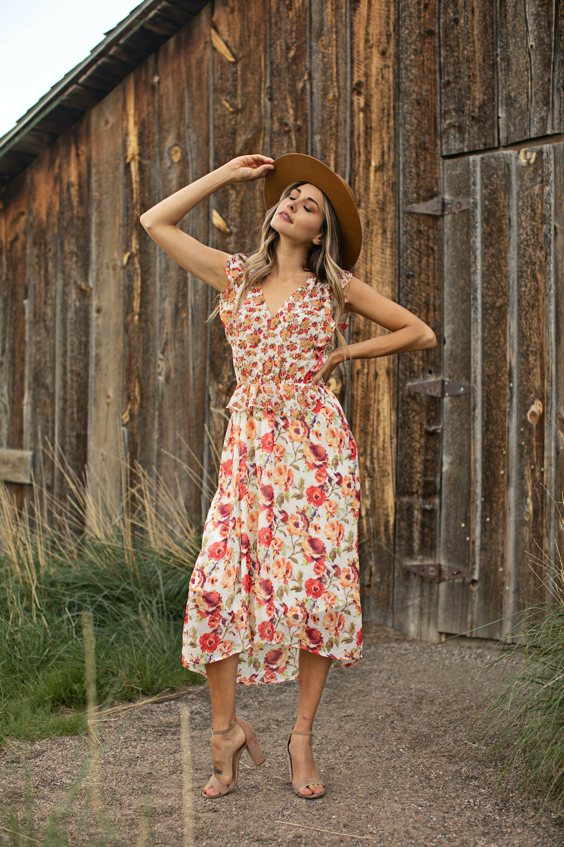 Mixed Floral With Crisscross Back -Ivory/Orange - Front