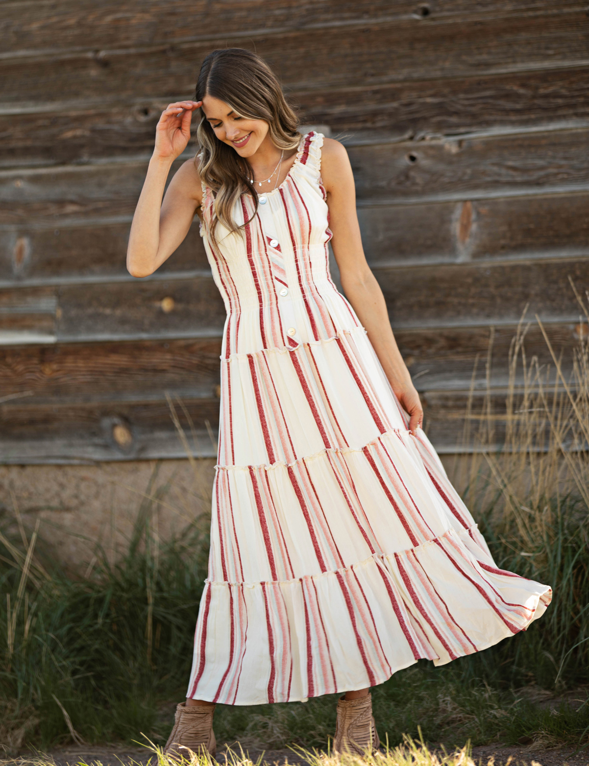 Stripe Smock Waist Maxi Dress - Ivory/Rust - Front