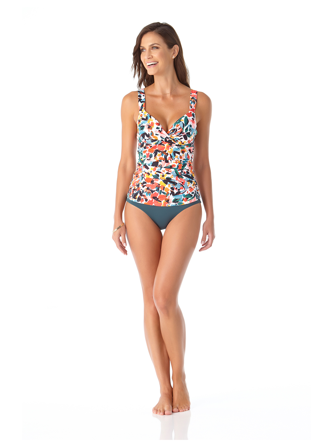 Anne Cole® Sunset Floral Twist Front Underwire Tankini Swimsuit Top - Multi - Front