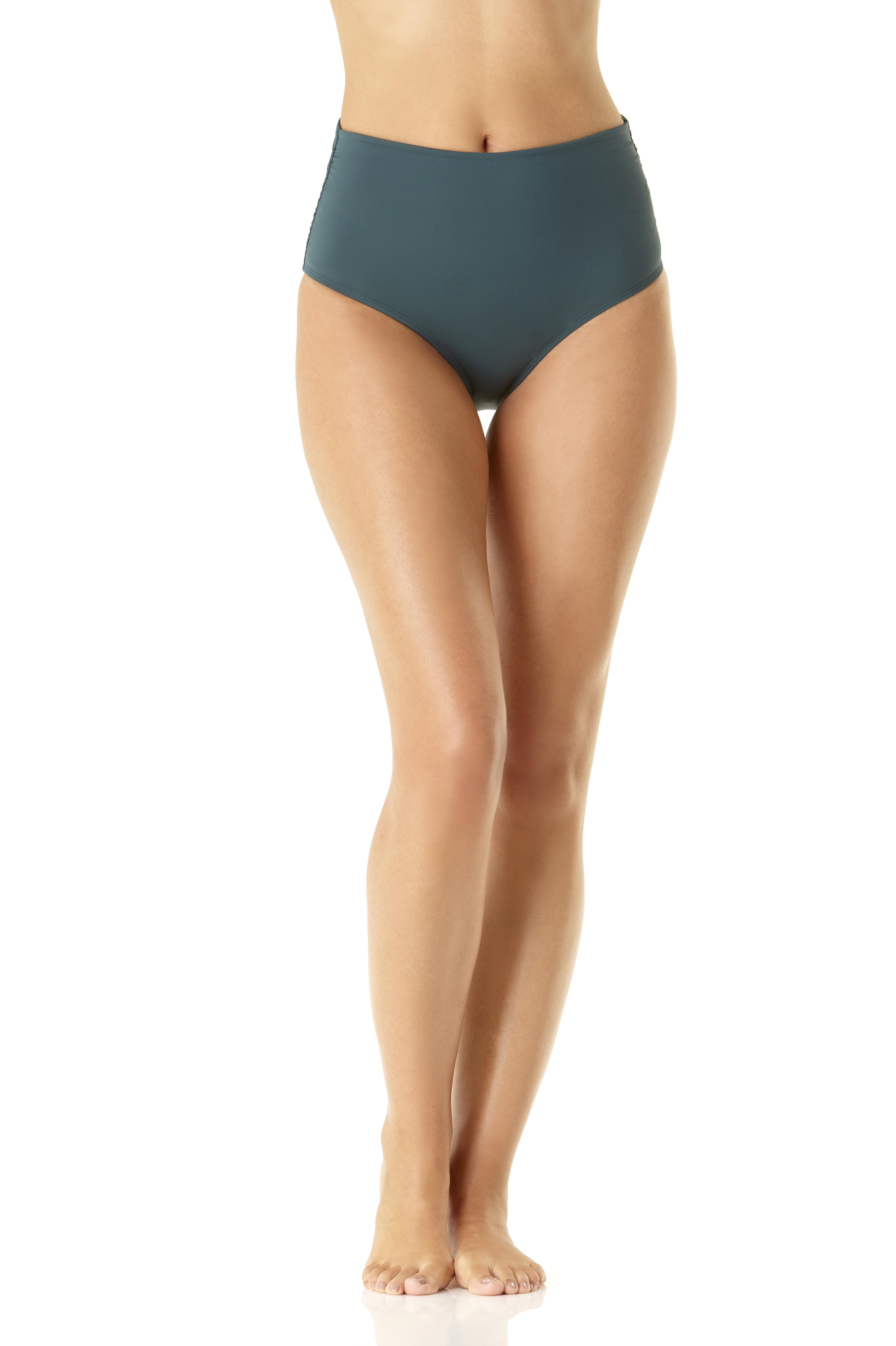Anne Cole® Live in Color Hi Waist Shirred Bikini Swimsuit Bottom - Eucalyptus Green - Front